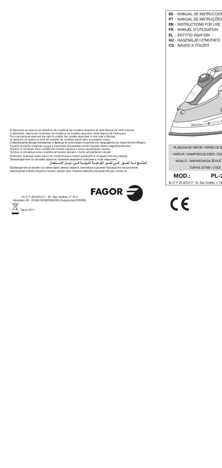 Im pl 2600, pl-2650 web - Servicio Tecnico Fagor