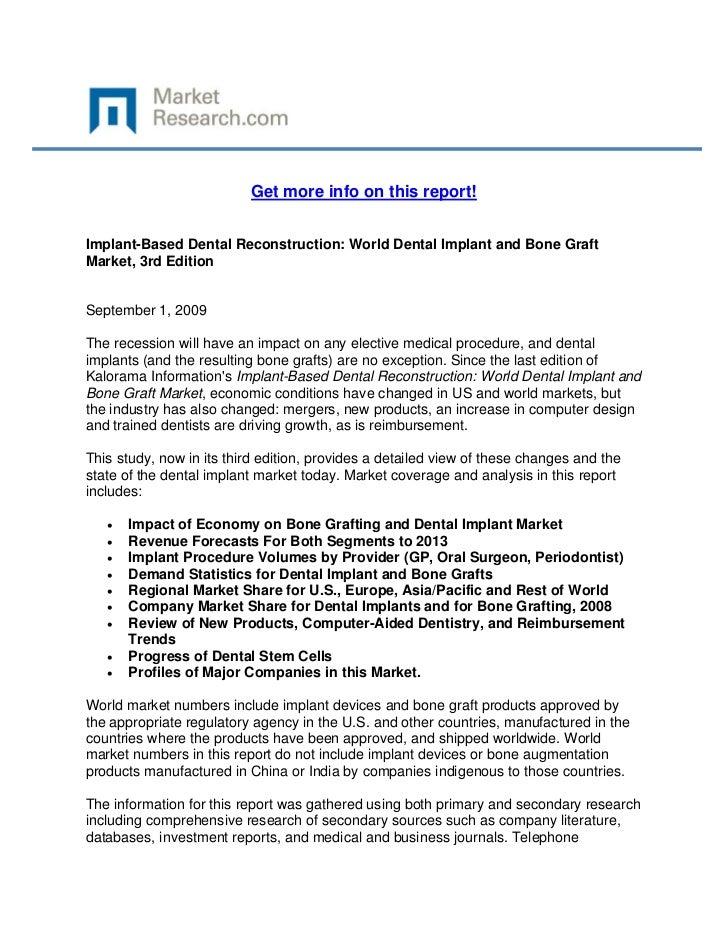 Implant-Based Dental Reconstruction: World Dental Implant and Bone Graft Market, 3rd Edition