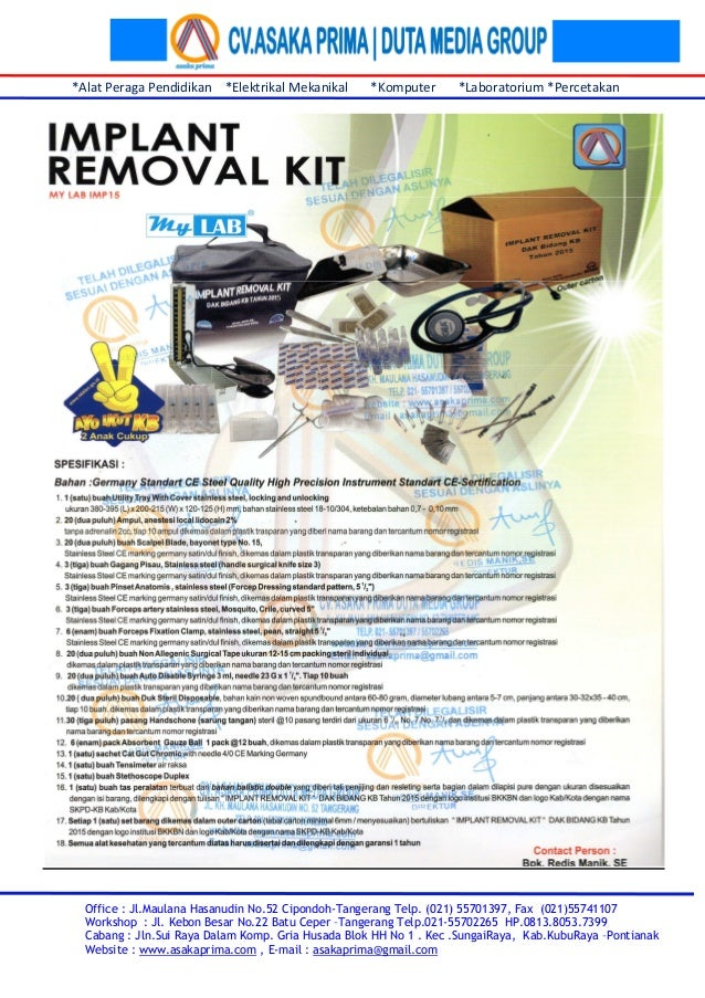 Pengadaan Implant Removal Kit ~ Implant Removal Kit kb DAK Tahun 2015