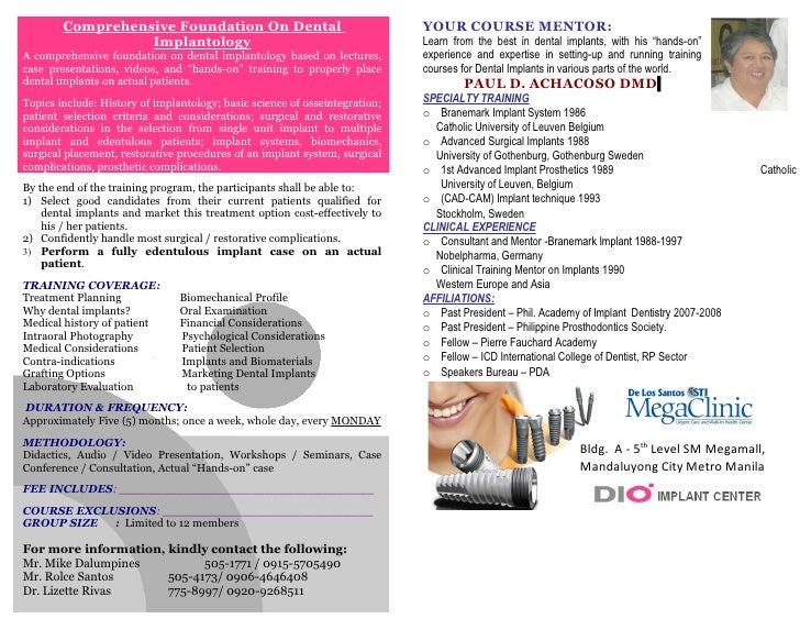 Comprehensive Foundation On Dental                                   YOUR COURSE MENTOR:                   Implantology   ...