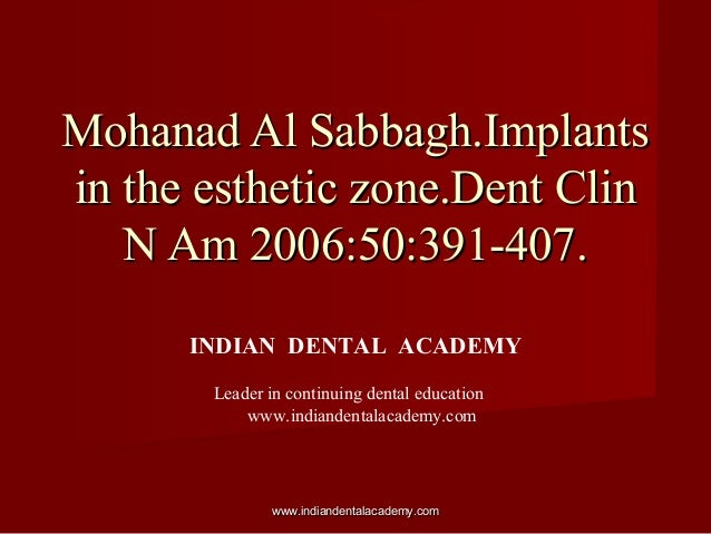 Implants in esthetic zone. / implant dentistry course/ implant dentistry course