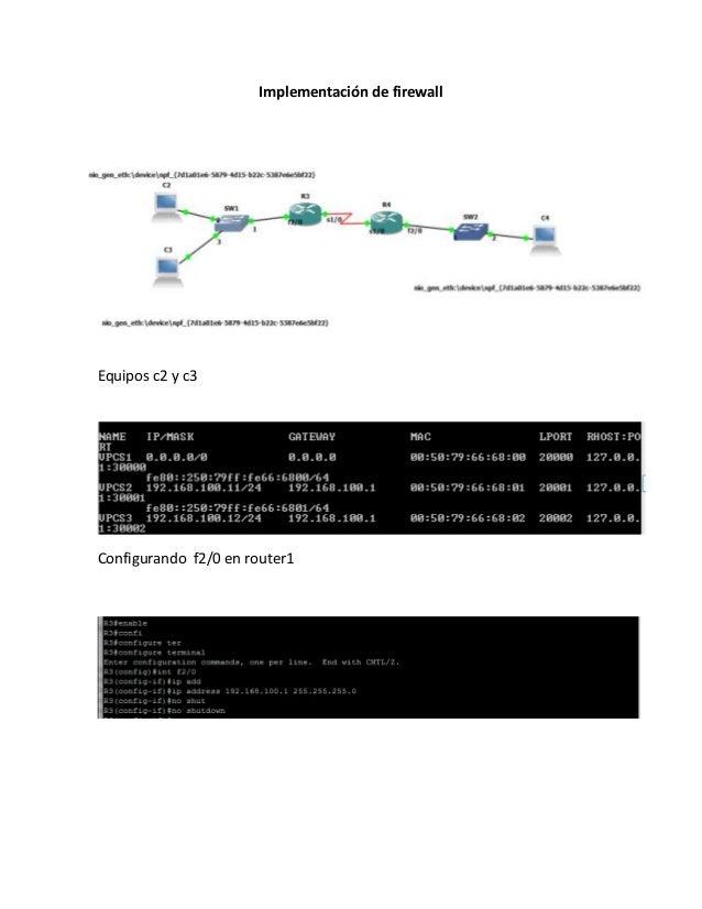Implementación de firewallEquipos c2 y c3Configurando f2/0 en router1