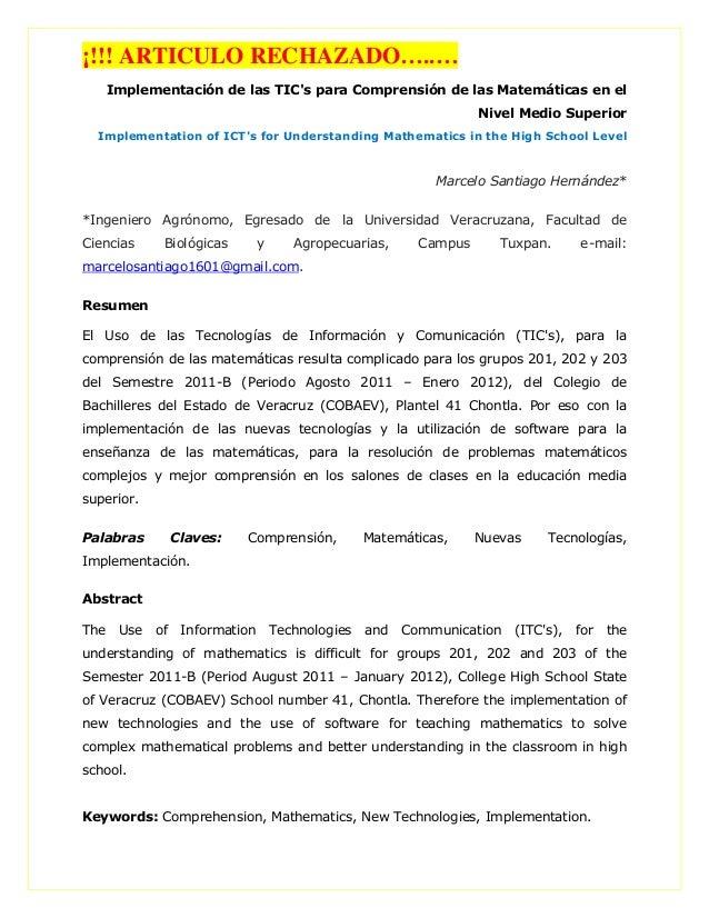 ¡!!! ARTICULO RECHAZADO…..… Implementación de las TIC's para Comprensión de las Matemáticas en el Nivel Medio Superior Imp...