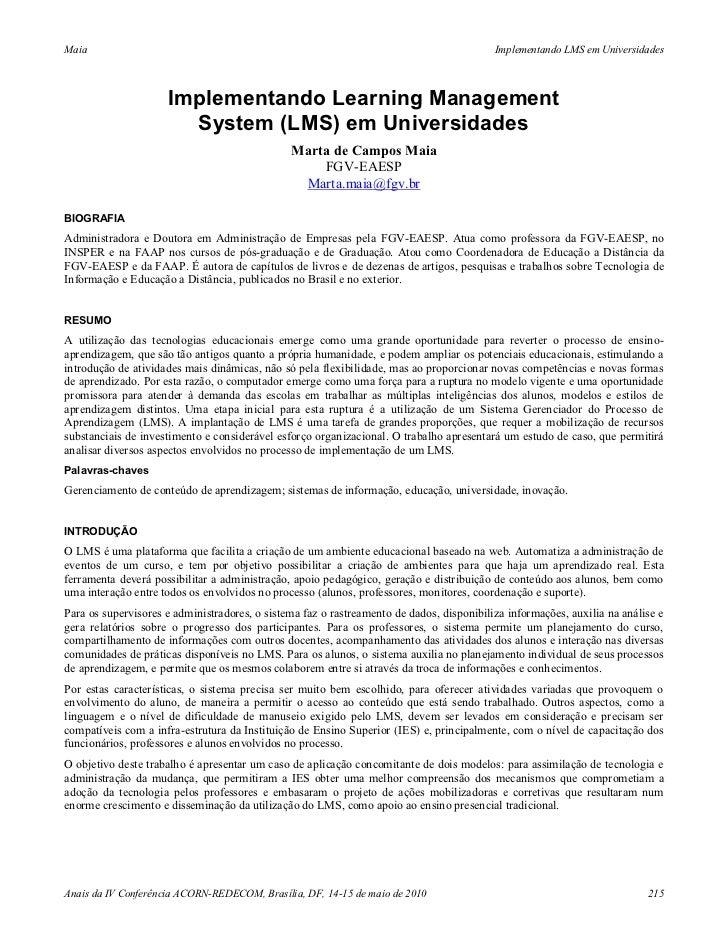 Implementando learning management system (lms) em universidades - Marta de Campos Maia (2010)