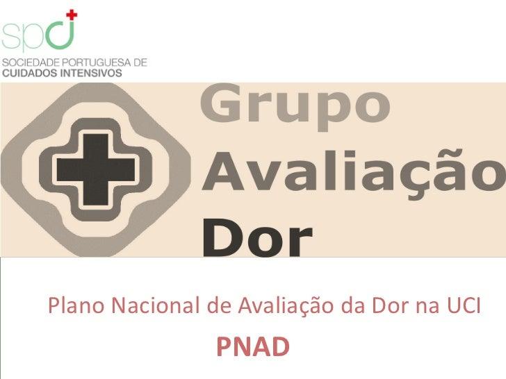 Plano Nacional de Avaliação da Dor na UCI               PNAD