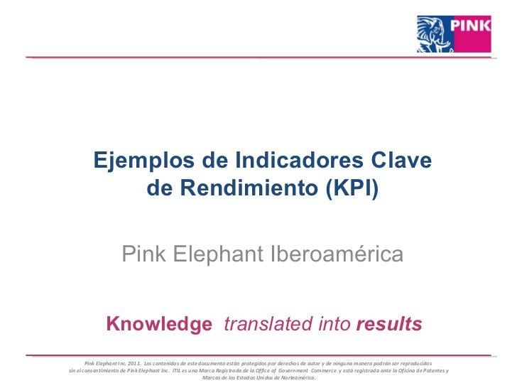 Ejemplos de Indicadores Clave de Rendimiento (KPI) Pink Elephant Iberoamérica