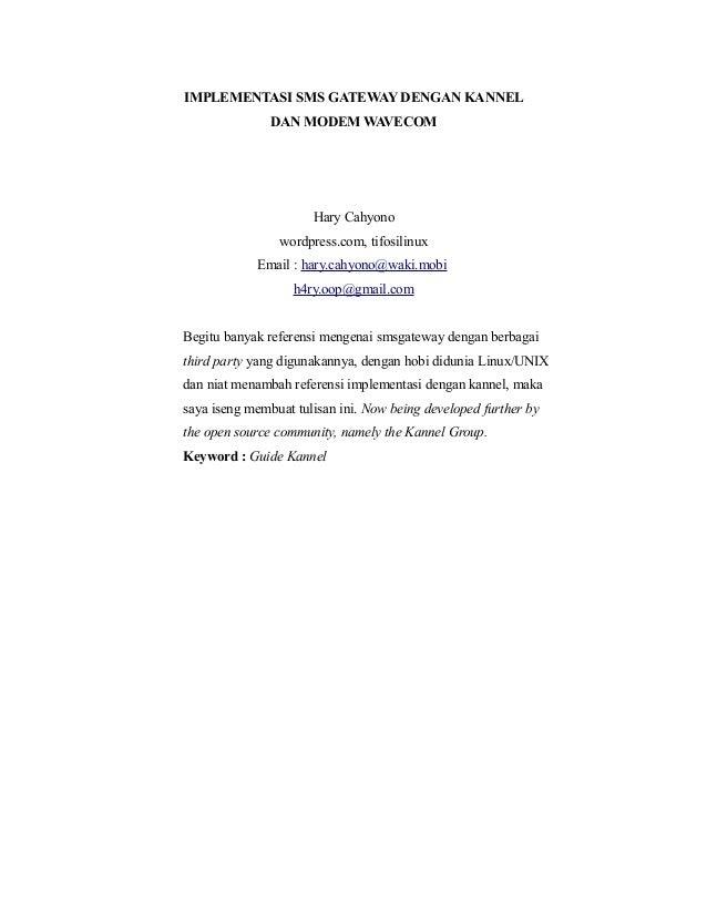 Implementasi Kannel dengan modem Wavecom di Linux OpenSuSE 11.2