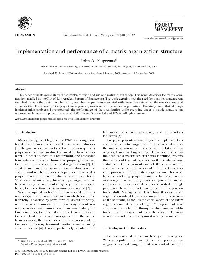 Implementation and performance of a matrix organization structure