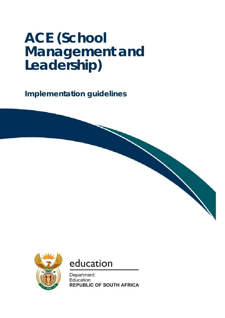 Implementation guidelines: ACE School Management and Leadership (PDF)