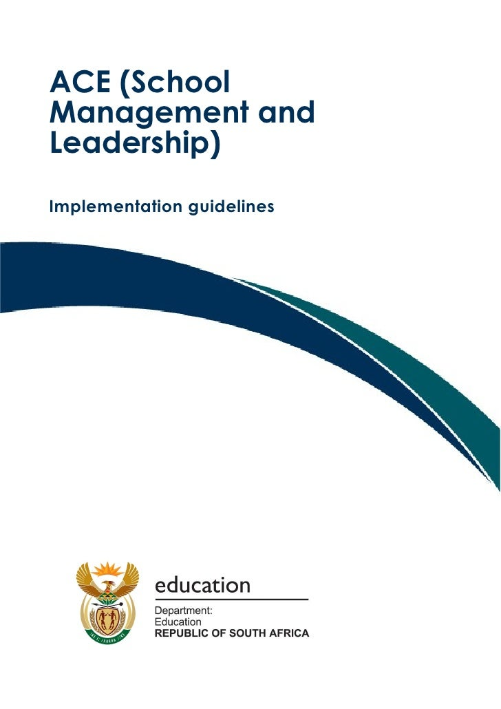 Implementation guidelines: ACE School Management and Leadership (Word)