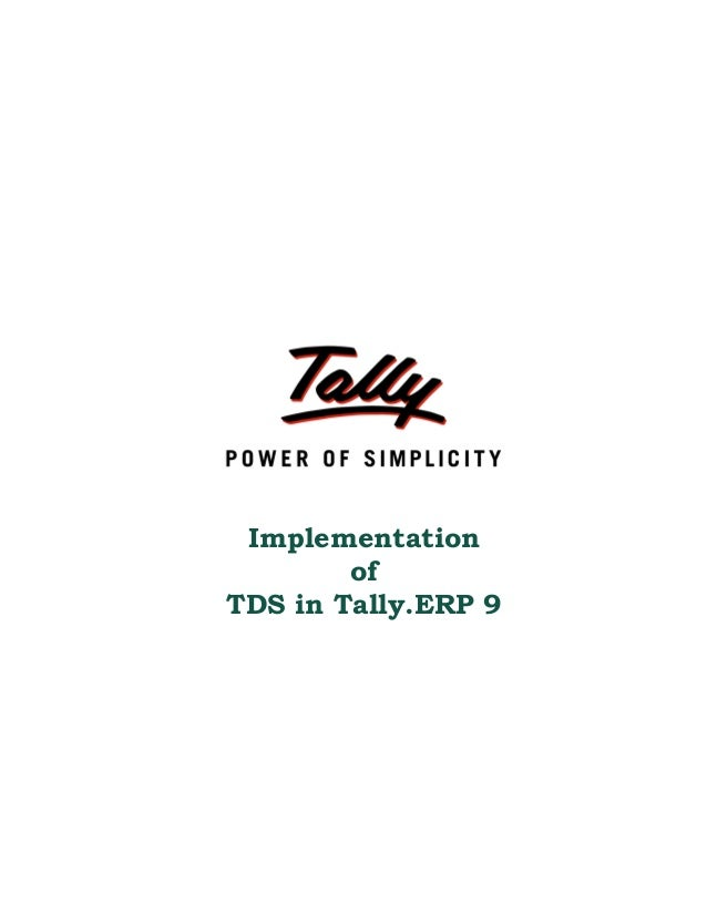 Implementation of TDS in Tally.ERP 9