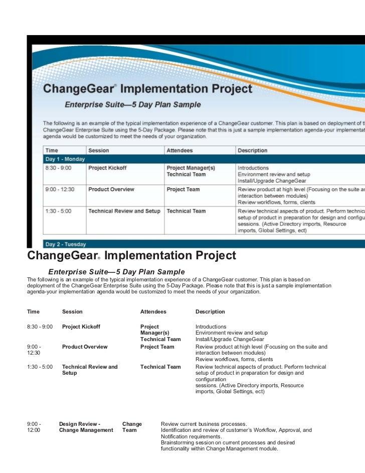 Implementation project plan