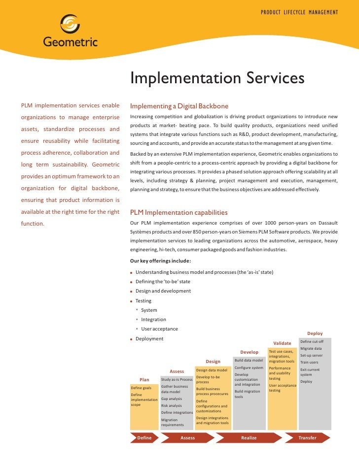 PRODUCT LIFECYCLE MANAGEMENT                                            Implementation ServicesPLM implementation services...