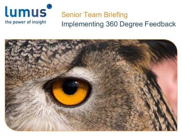 Senior Team Briefing Implementing 360 Degree Feedback