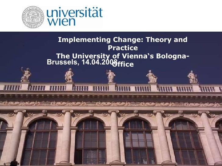 Implementing Change: Theory and Practice The University of Vienna's Bologna-Office Brussels, 14.04.2008