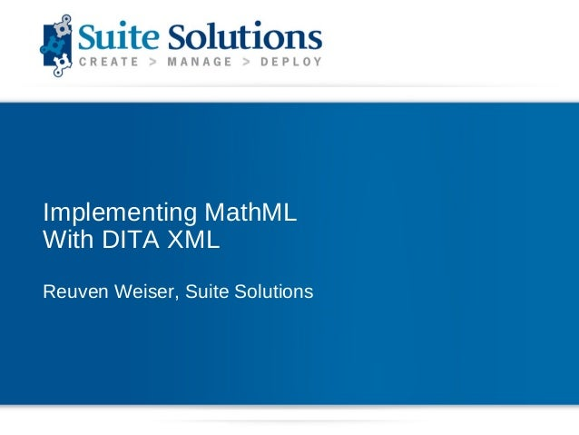 Implementing MathML with DITA XML