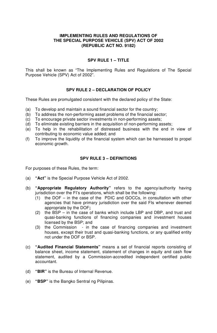 Implementing rules for SPVs