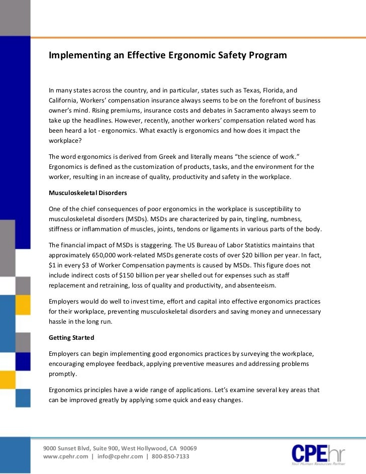 [Type text]               Implementing an Effective Ergonomic Safety Program               In many states across the count...