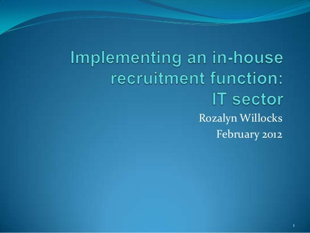 Implementing an inhouse recruitment function