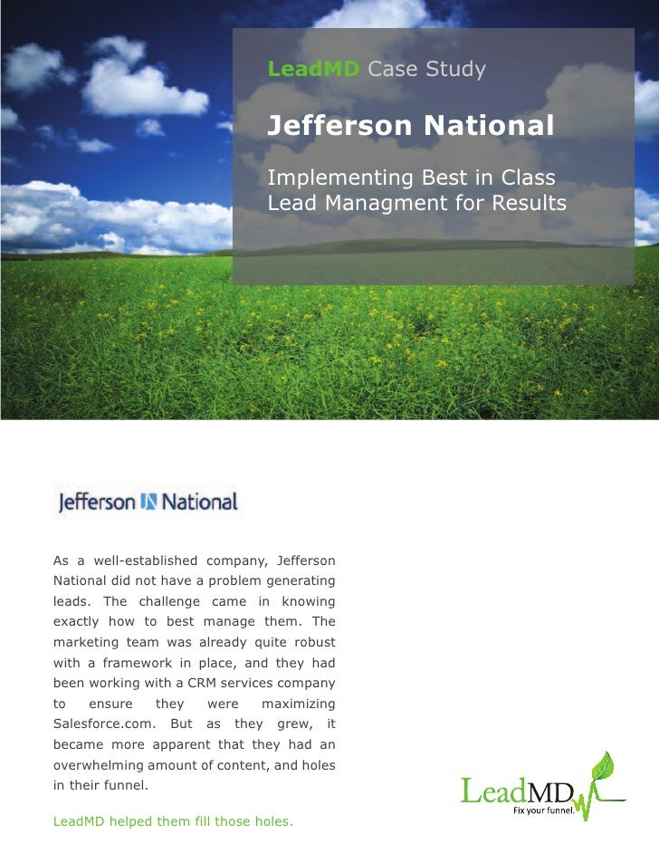 LeadMD Case Study                                       Jefferson National                                       Implement...