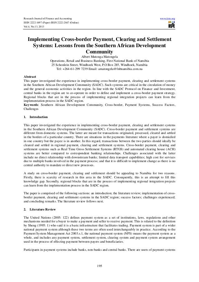 Implementing cross border payment, clearing and settlement systems