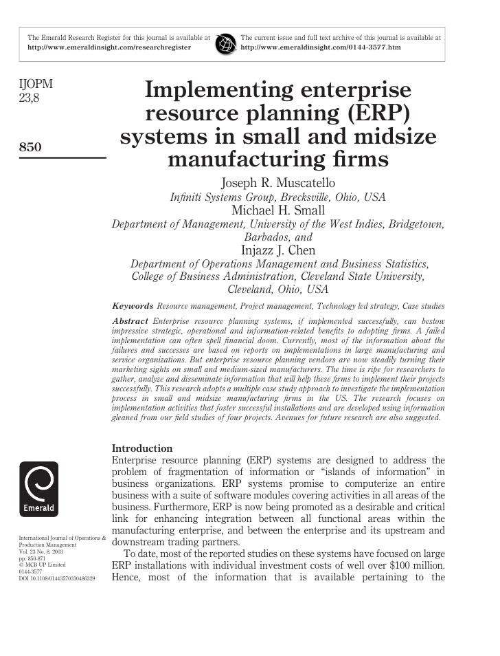 Implementing Erp Systems In Small And Midsize Manufacturing Firms