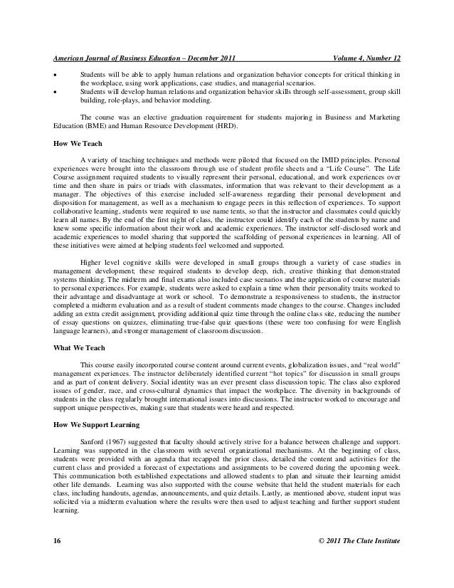 self reflection essay organizational behaviour