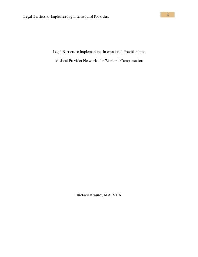 Legal Barriers to Implementing International Providers                          1                  Legal Barriers to Imple...