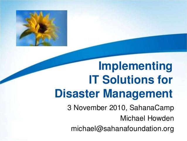 Implementing IT Solutions for Disaster Management (SahanaCamp 1.2)
