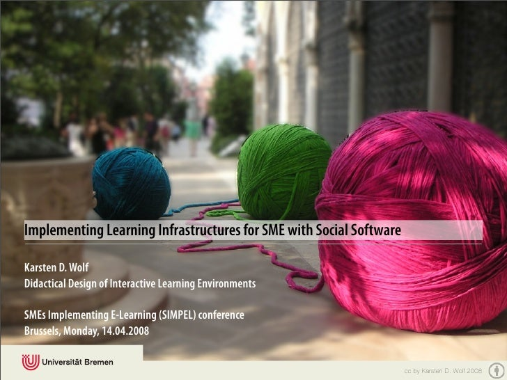 Implementing Learning Infrastructures for SME with Social Software  Karsten D. Wolf Didactical Design of Interactive Learn...