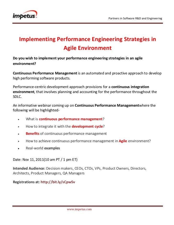 Implementing Performance Engineering Strategies in Agile Environment