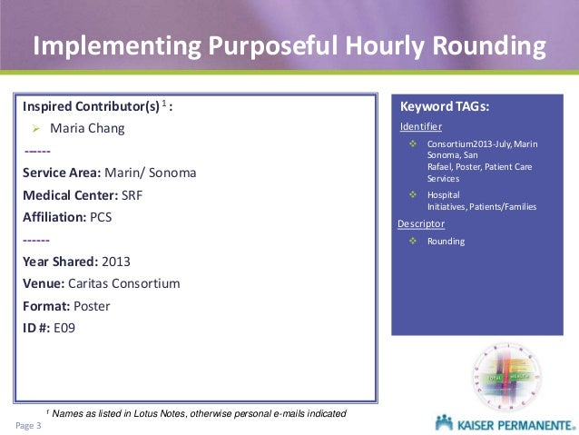 Implementing purposeful hourly rounding