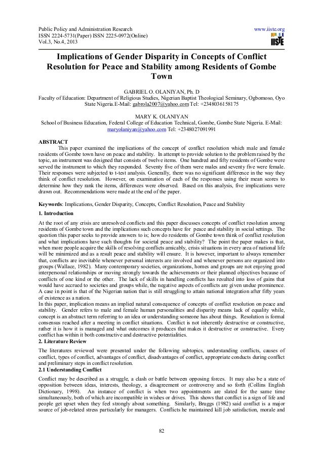 Implications of gender disparity in concepts of conflict resolution for peace and stability among residents of gombe town