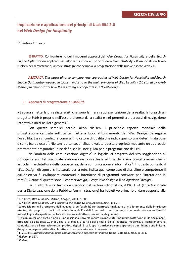RICERCA E SVILUPPOImplicazione e applicazione dei principi di Usabilità 2.0nel Web Design for HospitalityValentina Iannaco...