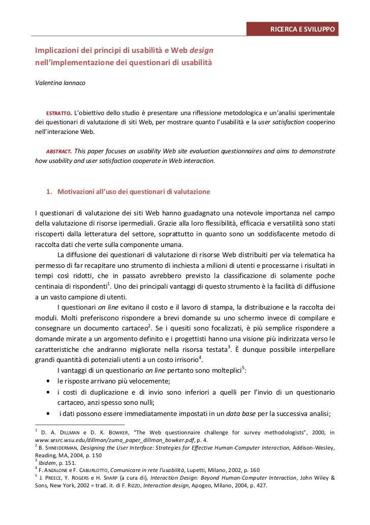RICERCA E SVILUPPOImplicazioni dei principi di usabilità e Web designnell'implementazione dei questionari di usabilitàVale...