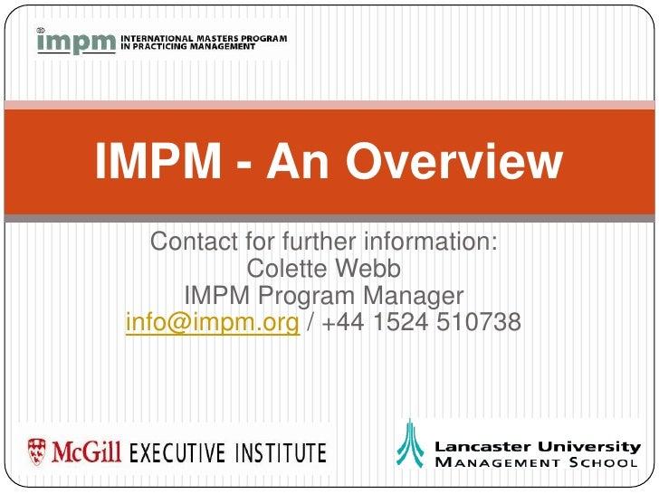 IMPM Presentation 2010