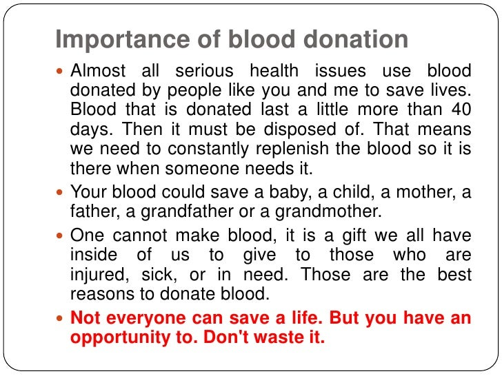 blood donation speech Category: example persuasive speech title: persuasive speech: everyone should donate blood.
