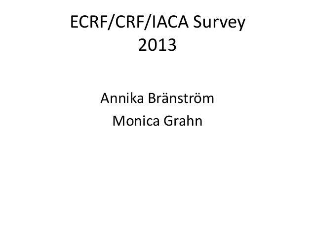ECRF/CRF/IACA Survey 2013 Annika Bränström Monica Grahn
