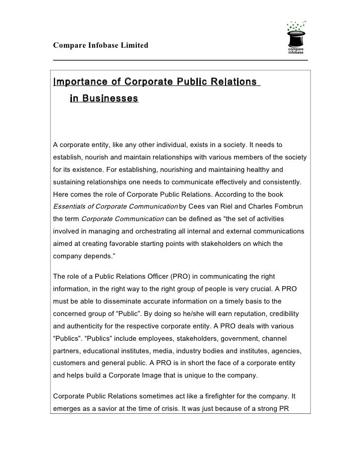 Importance of Corporate Public Relations in Businesses