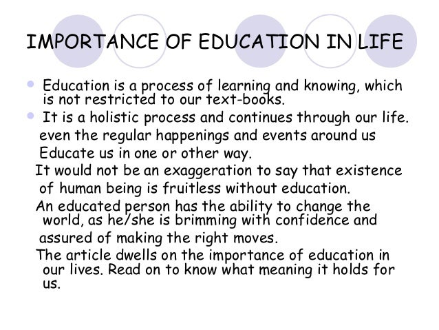 essay on why education is important for us Education is an important medium of acquiring skills and knowledge our  education begins at home  category: essays, paragraphs and articles on july  24, 2015 by vikash chamaria  education enables us to earn our livelihood.