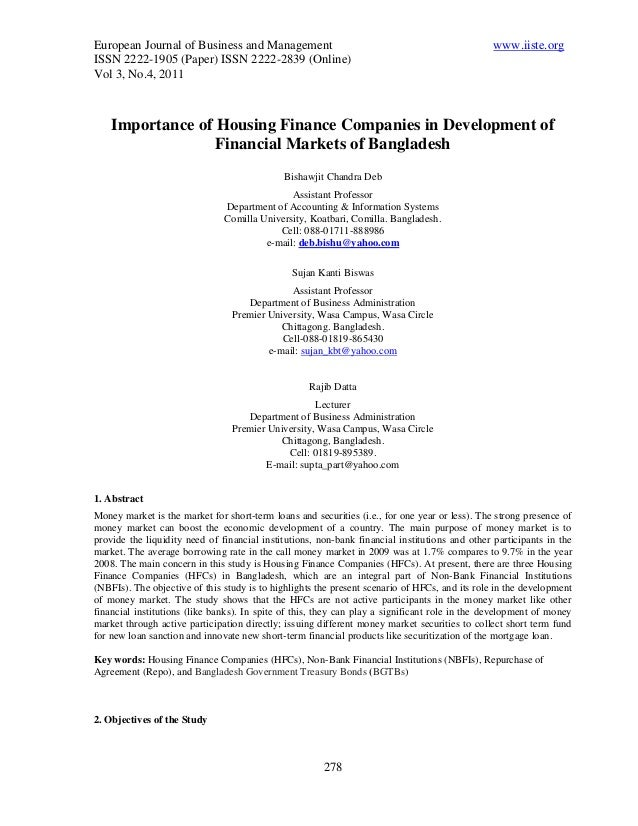 Importance of Housing Finance Companies in Development of Financial Markets of Bangladesh