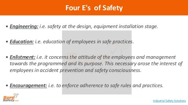  Engineering: i.e. safety at the design, equipment installation stage.  Education: i.e. education of employees in safe p...