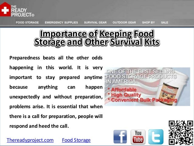 Importance of keeping food storage and other survival kits