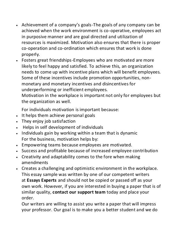 Essay On My School In English Custom Written Essay Sample On Employee Motivation High School Essays Samples also Essay On Modern Science Essay About Motivation At Work Motivation In Workplace  Uk Essays Essay On Photosynthesis