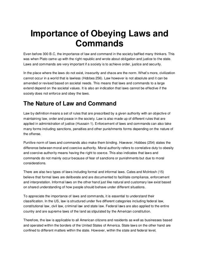 importance of peace and order law