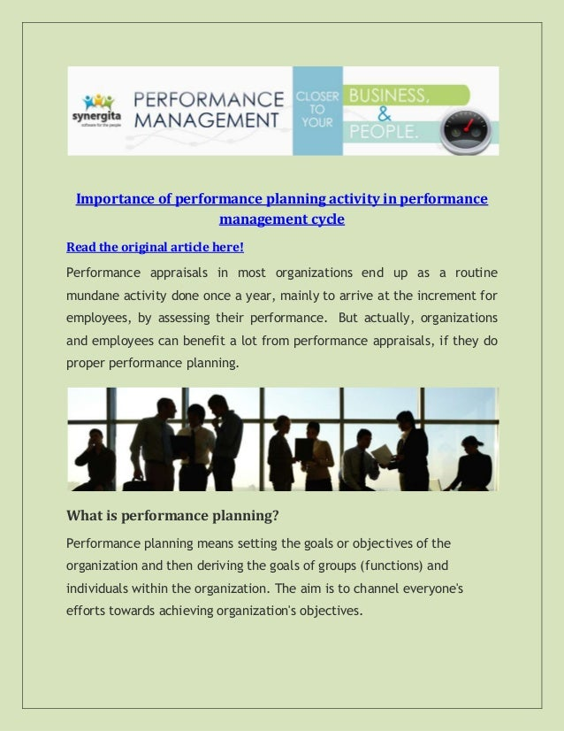 Importance of performance planning activity in performance management cycle Read the original article here! Performance ap...