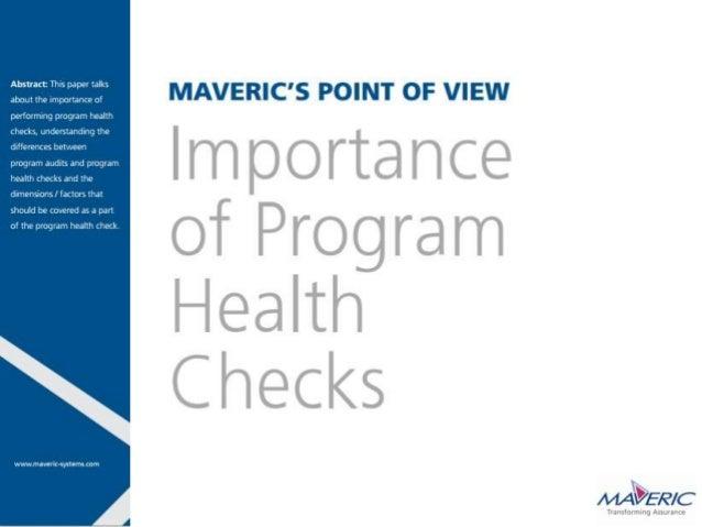 Importance of program health checks