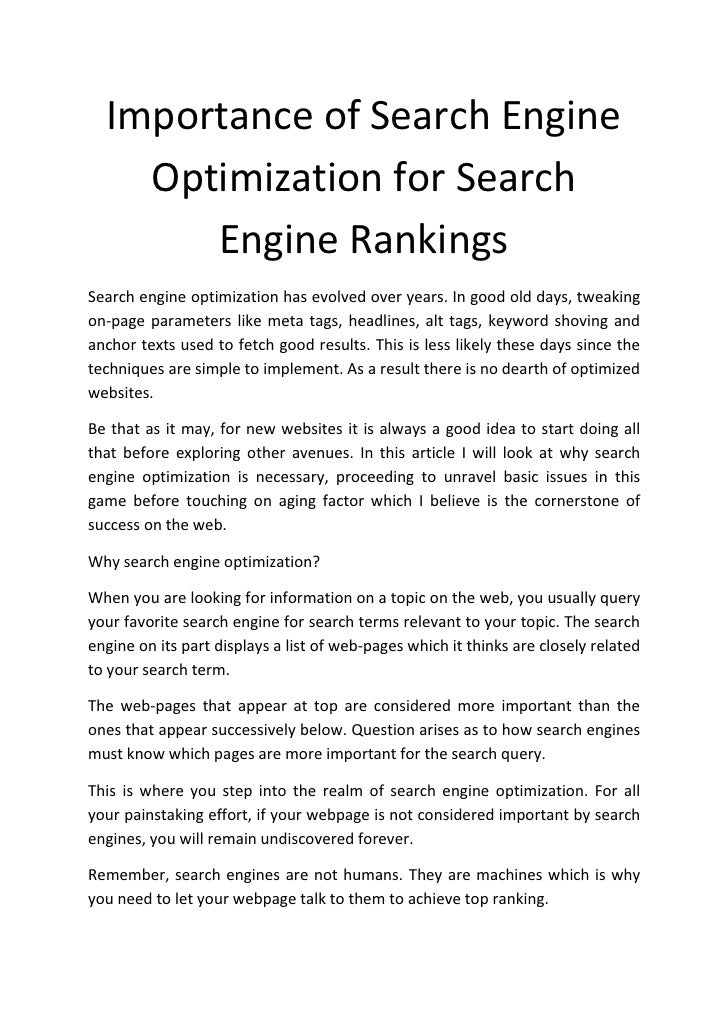 Importance of Search Engine     Optimization for Search        Engine Rankings Search engine optimization has evolved over...