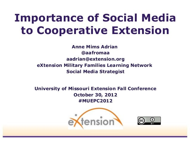 Importance of Social Media to Cooperative Extension                 Anne Mims Adrian                     @aafromaa        ...