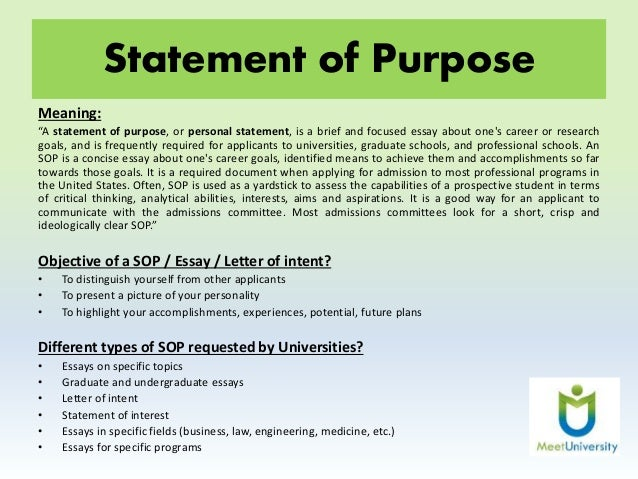 Statement of purpose essays for admition examples